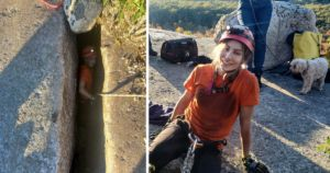 Brave Rescuer Slides Into 40-Foot Rock Crevice To Save Stranded Dog