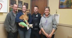 Puppy Left For Dead After Hit-And-Run Accident Adopted By Officer Who Rescued Him