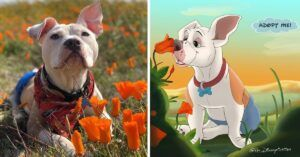 """Artist """"Disneyfies"""" Special Shelter Pets To Help Them Find Homes"""