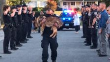 Police Officers Give Heartbreaking Send-Off To Hero K-9 On His Final Journey