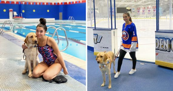 Guide Dog Raised By Hockey Team Helps His Handler Swim Professionally
