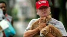 FAKE MEOWS: Trump Fans Share Bogus Snap Of Him Saving Cats From Harvey