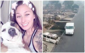 Woman Flees Wildfire On Bike While Hauling Her 70 lb Dog In A Duffel Bag